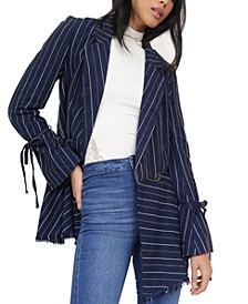 Stella Striped Frayed-Hem Blazer