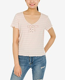 Juniors' Lace-Up Lettuce-Edge Top