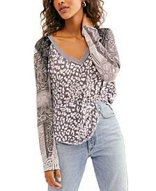 Friday Night Long-Sleeved Mixed-Print T-Shirt