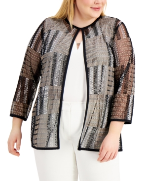 Plus Size Embroidered Mesh Cardigan