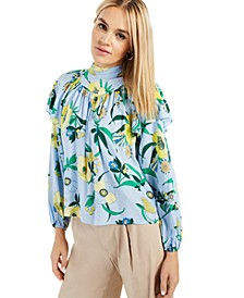 INC Printed Ruffled Blouse, Created for Macy's