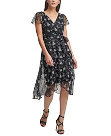 Printed Flutter-Sleeve Wrap Dress