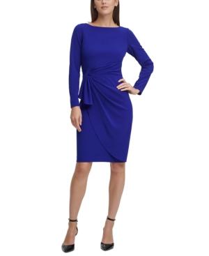 Dkny Draped Sheath Dress In Berry Blue