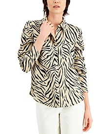 INC Linen Printed Blouse, Created for Macy's