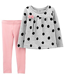 Toddler Girls 2-Piece Polka Dot Fleece Top and Legging Set