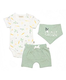 Baby Boys and Girls Bodysuit, Shorts, Bib Set