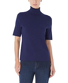 Women's Short Sleeve Turtleneck Sweater
