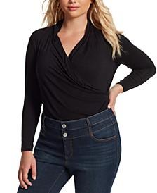 Trendy Plus Size Nara Faux-Wrap V-Neck Bodysuit