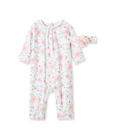 Baby Girls Floral Coverall with Headband