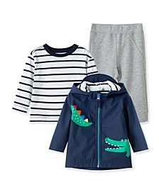 Baby Boys Alligator Jacket with Tshirt and Pant Set