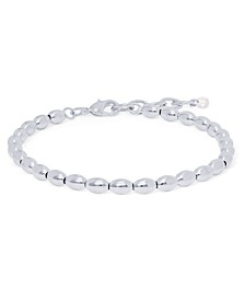 Silver Plated Oval Bead Link Bracelet