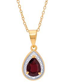 """Rhodolite Garnet Teardrop 18"""" Pendant Necklace (1-1/3 ct. t.w.) in Sterling Silver & 14k Gold-Plate"""