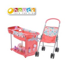 """Hauck 14"""" Toy Baby Doll with High Chair and Bed Care Center and 15 Accessories"""