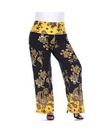 Women's Plus Size Floral Paisley Printed Palazzo Pants