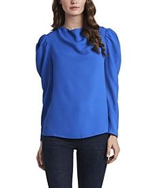 Long Sleeve Puff Shoulder Blouse