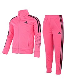 Little Girls Zip Front Tricot Jacket and Jogger Pant Set