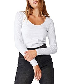 Women's Everyday Long Sleeve Scoop Neck Top