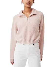 Women's Cropped Teddy Zip Neck Sweater