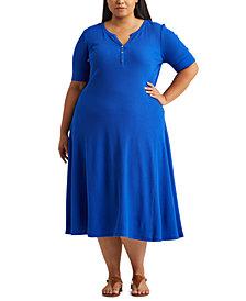 Lauren Ralph Lauren Plus Size Cotton Fit & Flare Dress