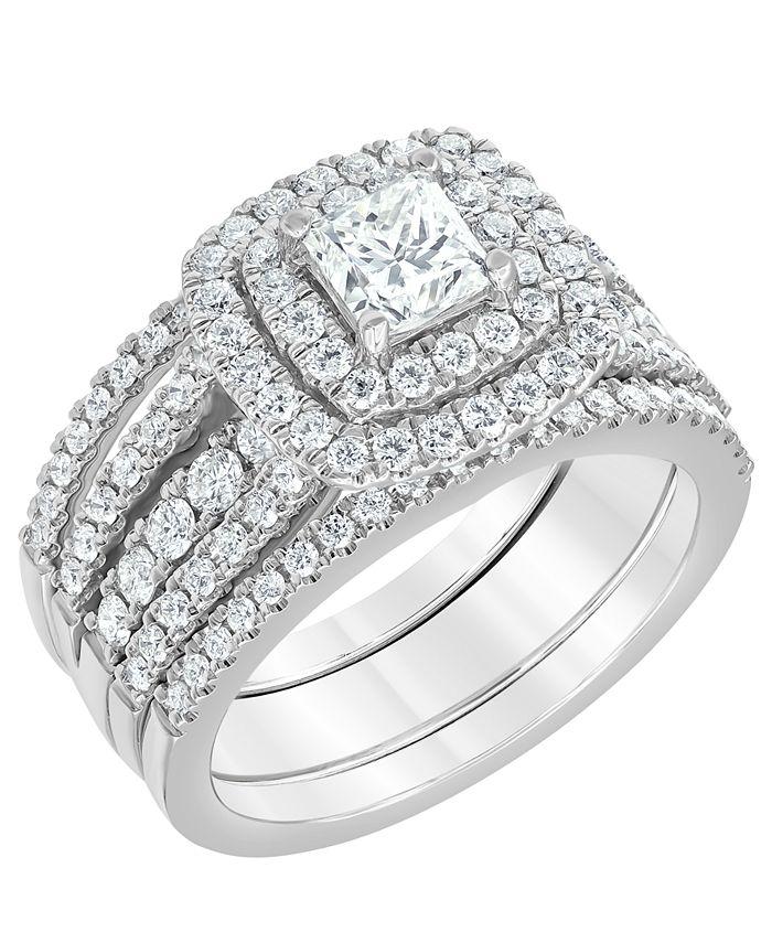 Macy's - Diamond Princess-Cut Halo Bridal Set (2 ct. t.w.) in 14K White Gold