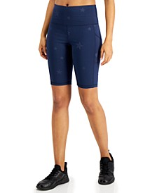 Embossed-Star High-Rise Bike Shorts, Created for Macy's
