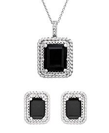 Onyx and Diamond (1/20 ct. t.w.) Box Set (Pendant & Earrings) in Sterling Silver