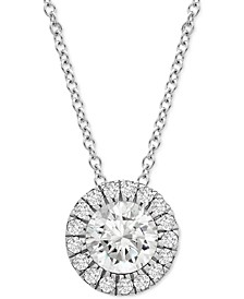 "Diamond Halo 20"" Pendant Necklace (1/2 ct. t.w.) in Platinum, Created for Macy's"