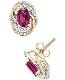 Ruby (1-1/3 ct. t.w.) & Diamond (1/10 ct. t.w.) Stud Earrings in 14k Gold (Also in Emerald and Sapphire)