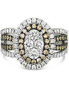 Nude Diamond (1-1/10 ct. t.w.) & Chocolate Diamond (5/8 ct. t.w.) Oval Cluster Statement Ring in 14k White Gold