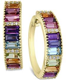 EFFY® Multi-Gemstone (2-1/3 ct. t.w.) & Diamond (1/10 ct. t.w.) Hoop Earrings in 14k Gold