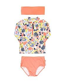 Baby Girls Ruffled 2-Piece Rash Guard Swim Headband Set