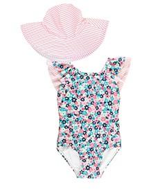 Baby Girls Ruffle V-Back 1-Piece Swim Hat Set