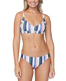 Juniors' Chasing The Sun Striped Beach Life Bikini Top & Striped Lowrider Bikini Bottoms