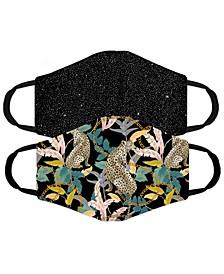 Adult 2-Pk Black/Animal Print Mask Set