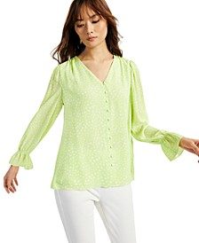 Printed V-Neck Poet Blouse, Created for Macy's