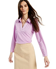 Ribbed Collared Top, Created for Macy's