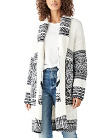 Printed Shawl-Collar Cardigan