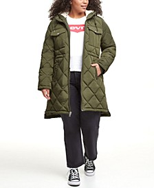 Trendy Plus Size Diamond-Quilted Hooded Long Parka Jacket
