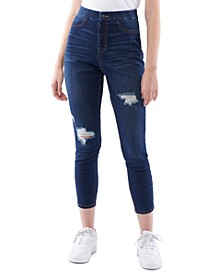 Juniors' Curvy Ripped Pull-On Skinny Jeans