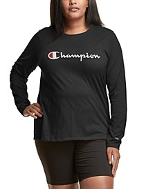 Plus Size Long-Sleeve Logo T-Shirt
