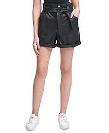 Faux-Leather Paperbag Shorts