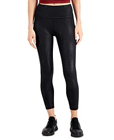 Croc-Embossed Side-Pocket 7/8 Leggings, Created for Macy's