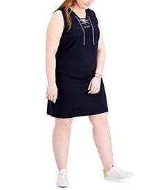 Plus Size Lace-Up Sleeveless Dress, Created for Macy's