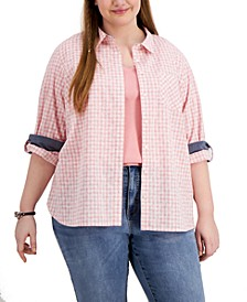 Plus Size Gingham Button-Down Top, Created for Macy's