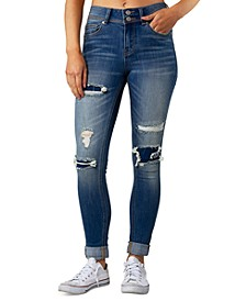 Juniors' Rip & Repair Cuffed Jeans