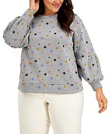 Trendy Plus Size Puff-Sleeve Sweatshirt