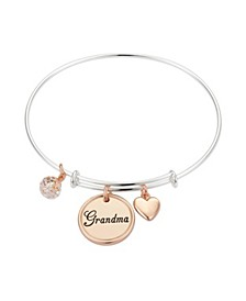 """Grandma"" Coin Adjustable Bangle Bracelet in Rose Gold Tone Stainless Steel and Rose Gold Flash Fine Silver Plated Charms"