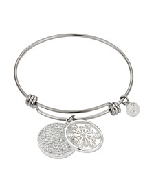 "Pave Crystal ""Unique"" Snowflake Adjustable Bangle Bracelet in Stainless Steel and Fine Silver Plated Charms"