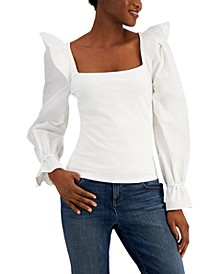 INC Petite Ruffled Square-Neck Top, Created for Macy's