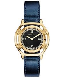 Women's Swiss Black Leather Strap Watch 36mm